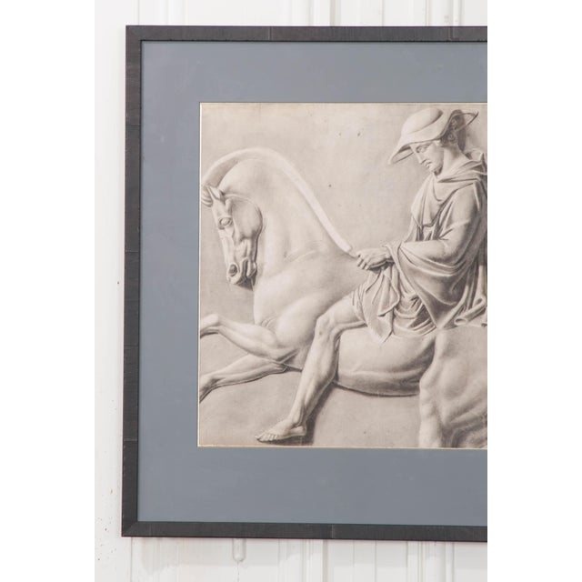 This well-executed charcoal drawing, circa 1940s, is a study of a marble monument, likely by an art student. It is...