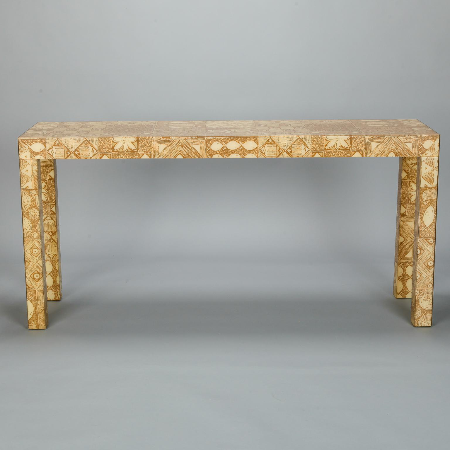Circa 1970s Parsons Style Console Table Has A Wood Base Covered With Taupe  And White Printed