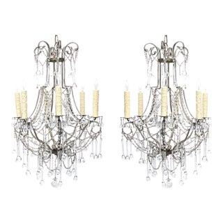 An Elegant and Graceful Pair of Italian 1960's Cage-Frame Beaded 6-Light Chandeliers With Tear Drop Crystal Pendants