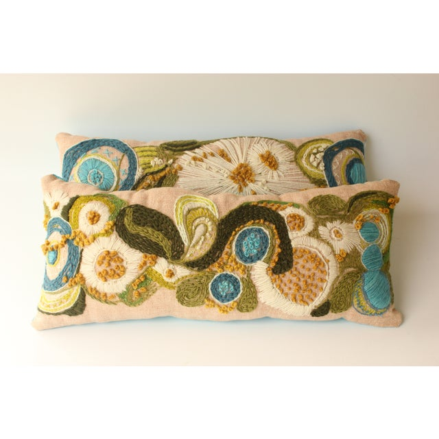 Abstract Floral Crewel Pillows - Pair - Image 2 of 6