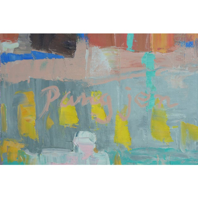 """Pang Jen """"Girl with Guitar"""" Original Modernist Expressionism Oil Painting For Sale - Image 6 of 13"""