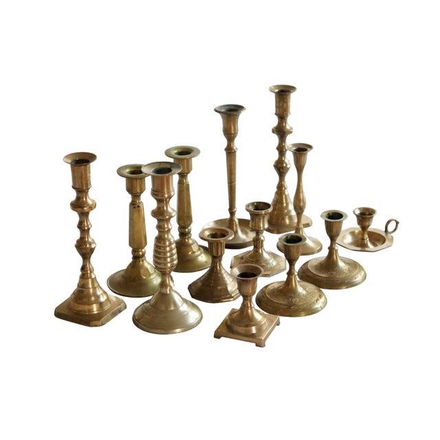 Boho Chic Mismatched Vintage Candle Holders, Set of 13 For Sale - Image 3 of 7