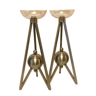 Candle Holders With Antique Brass Finish and Amber Glass - a Pair