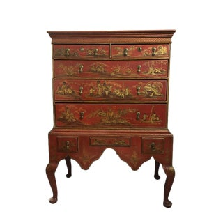 Queen Anne Red Japanned Chest on Stand