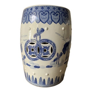 Vintage Blue and White Chinese Porcelain Garden Stool For Sale