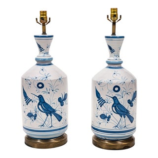 Blue and White Country Bird Table Lamps - a Pair For Sale