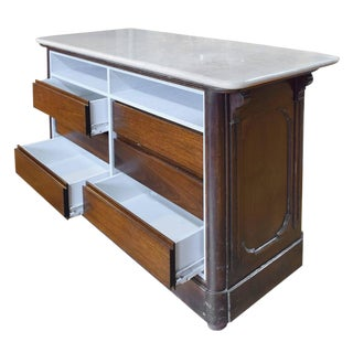 Italian Wood and Marble Counter with Drawers