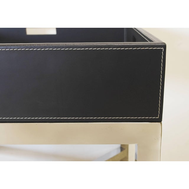 Hollywood Regency Black Leather and Stainless Steel Tray Table by Fabio Ltd For Sale - Image 3 of 7