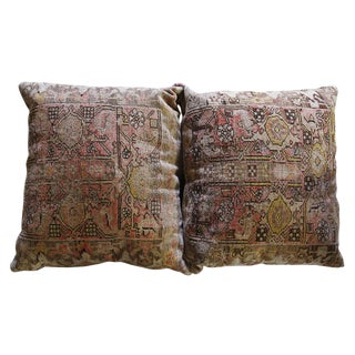 Pillows - Oriental Rug & Leather - a Pair For Sale