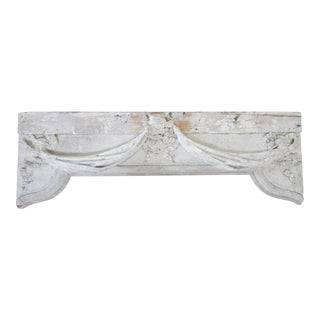 Antique Painted Architectural Header With Ribbon Swag For Sale