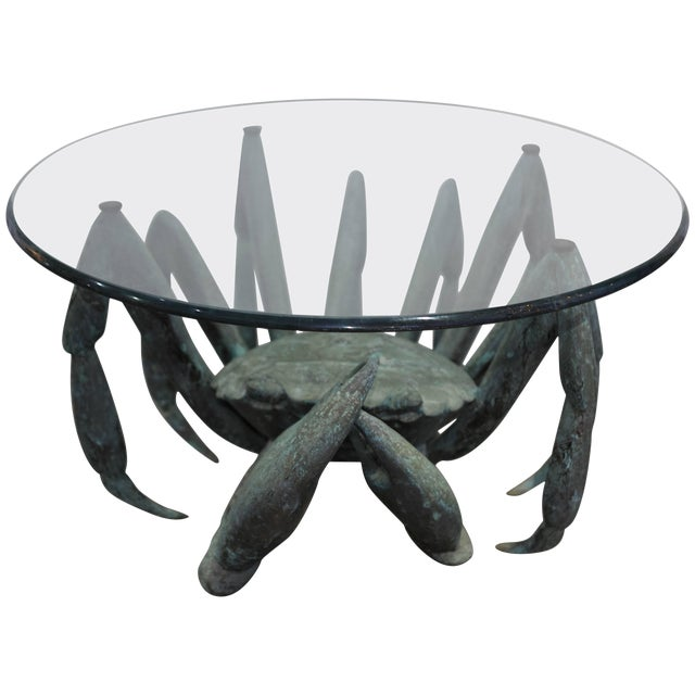 Bronze Crab-Form Sculpture Cocktail Table With Round Glass Top For Sale