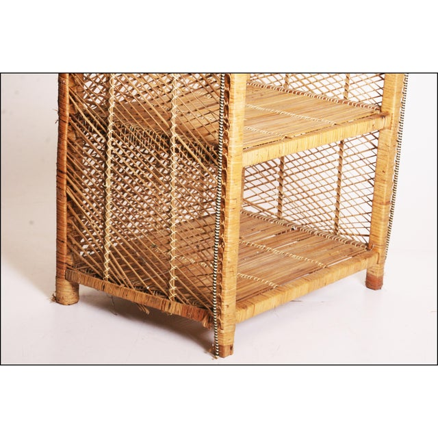 Vintage Boho Chic Wicker Bookcase with Dome Top For Sale - Image 10 of 11