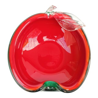 Red and Green Apple Murano Bowl For Sale