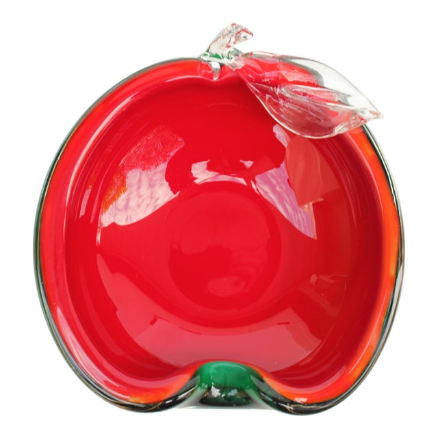 Red and Green Apple Murano Bowl - Image 1 of 5