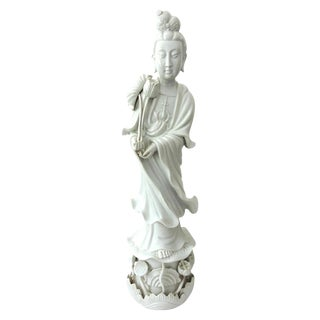 "Vintage Chinese 'Blanc De Chine' White Porcelain Figure of the Deity Guan Yin 30"" (Kwan Yin) For Sale"