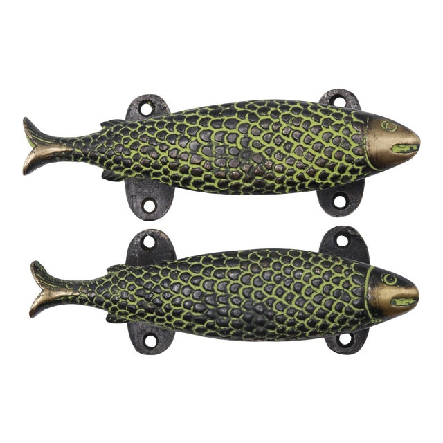 Green Brass Fish Door Handles - a Pair For Sale
