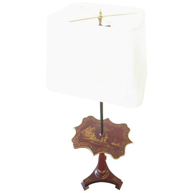Red Chinoriserie Decorated Table Lamp With Custom Shades For Sale - Image 11 of 11