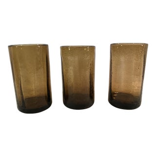 Mid-Century Brown Blown Glasses - Set of 3 For Sale
