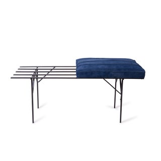 Iron and Suede Slat Benches - A Pair Preview