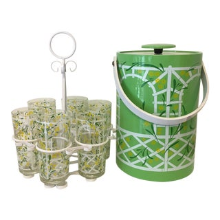 Culver Trellis Garden Highball Glasses and Ice Bucket - Set 6