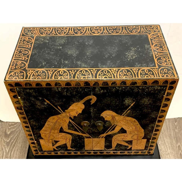 Grand Tour Grand Tour Style Polychromed Greek Motif Cabinet on Stand For Sale - Image 3 of 13