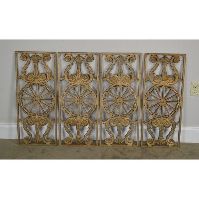 Art Deco Art Deco Antique Vintage 1940's Set of 9 Cast Iron Railing Panels For Sale - Image 3 of 13