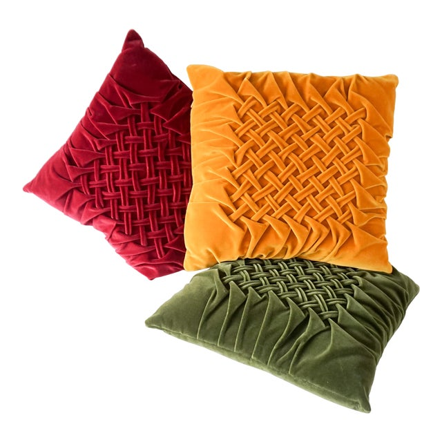 Velour Lattice Pattern Pleated Pillows - Set of 3 For Sale