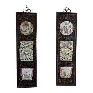 Late 19th Century Vintage Chinese Lacquer Wall Panels- a Pair For Sale
