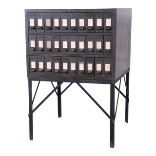 Industrial Age 30-Drawer Army Green Parts Cabinet For Sale
