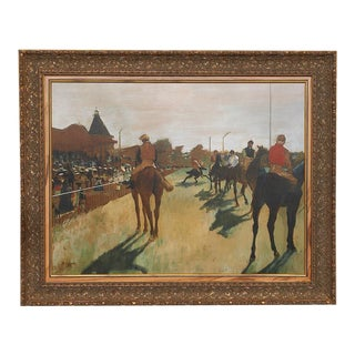 """""""Race Horses in Front of the Stands"""" Fine Art Giclée on Canvas, Framed by Edgar Degas For Sale"""