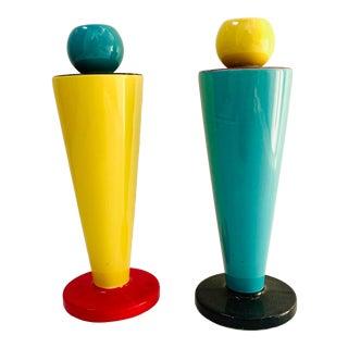 1980s Vandor Peltzman Ceramic Memphis Style Candleholders - a Pair For Sale
