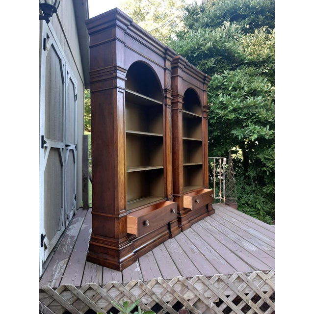 1960s Vintage Drexel 1968 Et Cetera French Style Aged Walnut Solid Wood Bookcases - a Pair For Sale - Image 5 of 13