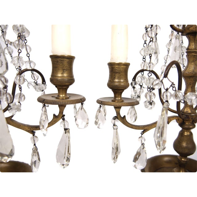 French Bronze & Crystal Two Light Candelabra - A Pair For Sale - Image 4 of 4