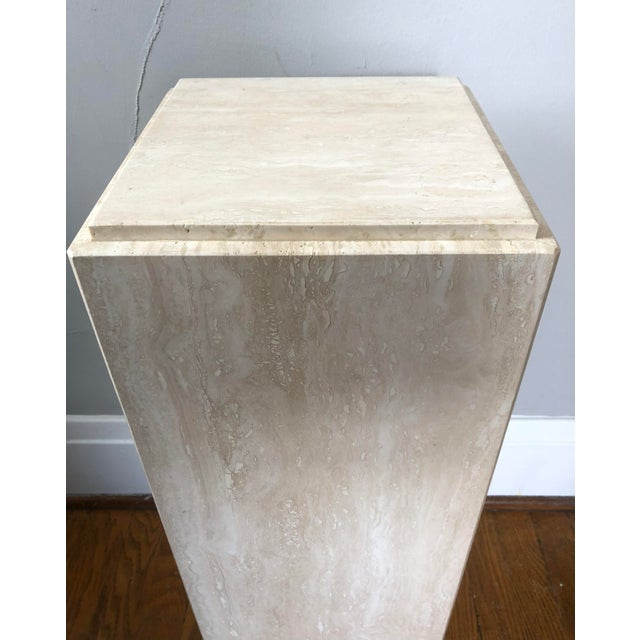 Contemporary Vintage Travertine Pedestal For Sale - Image 3 of 5