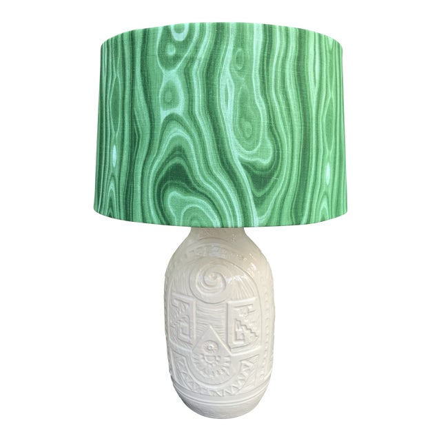 White Pottery California Ceramics Mid-Century Table Lamp with Malachite Shade For Sale