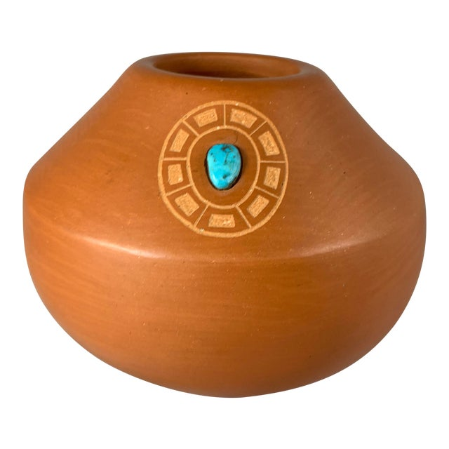 Southwest Clayware Jar With Turquoise Inlay by Marie Gonzales Pena For Sale