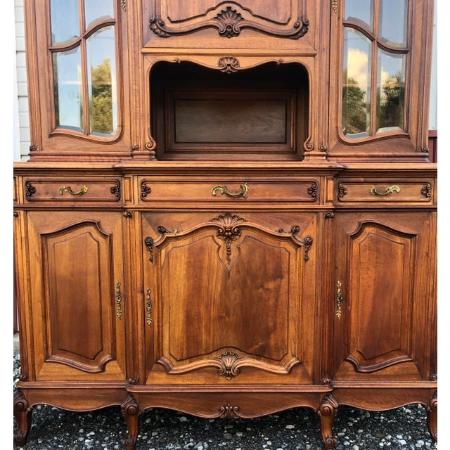 French Haentges Fres of Paris Walnut Hutch For Sale - Image 3 of 13