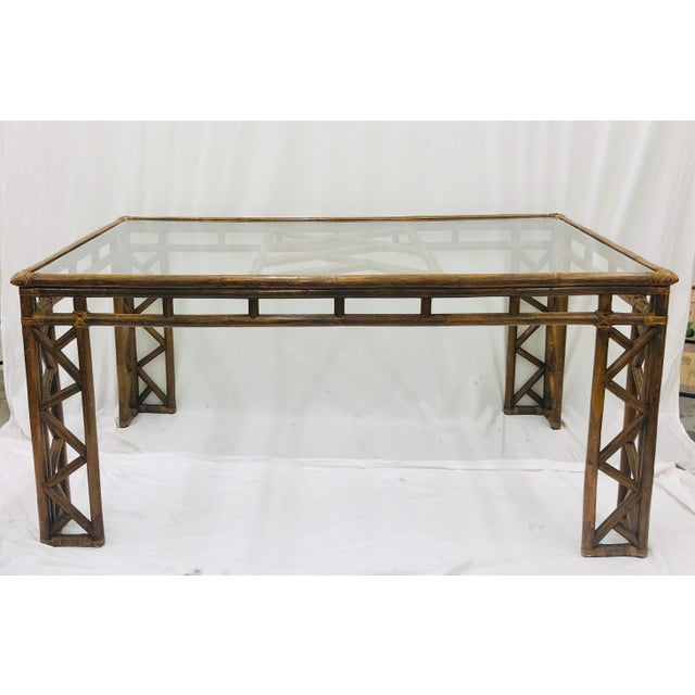Vintage Chinese Chippendale Rattan & Glass Top Table For Sale - Image 10 of 10