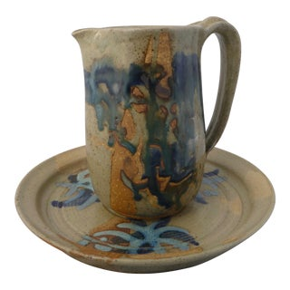 Barbara Gittleson Studio Pottery Water Pitcher and Under Plate