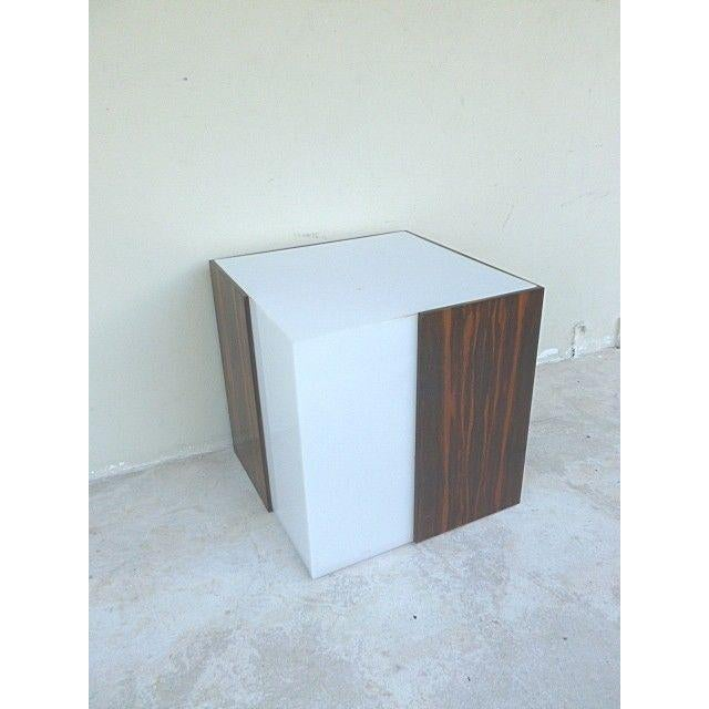 1970s Mid Century Modern Rosewood & Acrylic Floor Lamp Table For Sale - Image 13 of 13