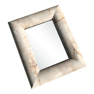Postmodern Faux Stone Laminated Wood Mirror For Sale