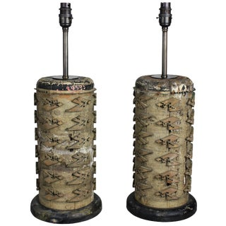 French 19th Century Print Roll Lamps - a Pair For Sale