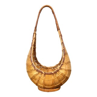 Vintage Teardrop Bamboo and Rattan Basket With Handle For Sale