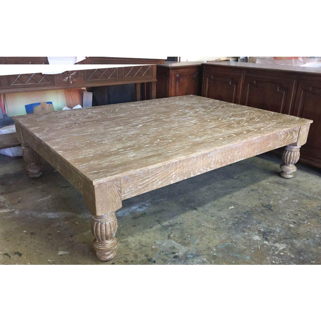 Distinguished Custom Ceruse Oak Wood Coffee Table DECASO - Custom size coffee table