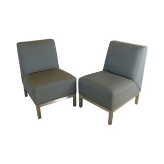 Mid Century Modern Chrome Base Pair Lounge Chairs For Sale
