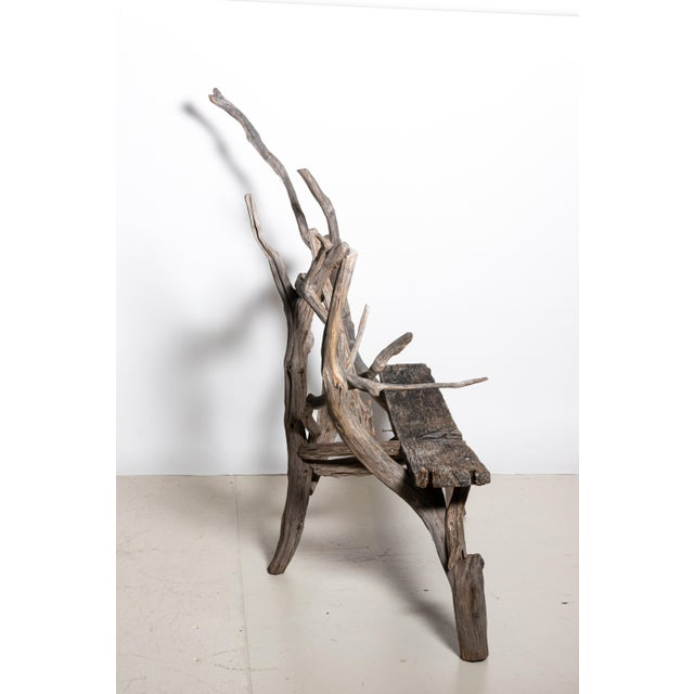 English Country Reclaimed Driftwood Garden Bench For Sale - Image 4 of 11