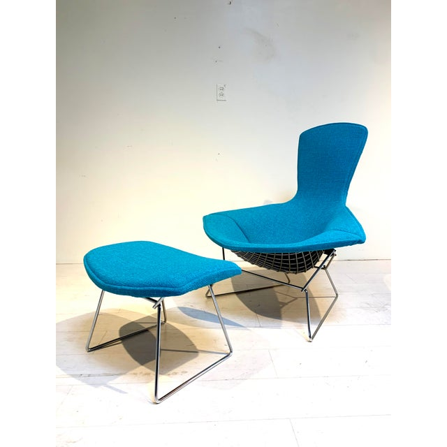 Teal 1950s Mid-Century Bird Chair and Ottoman Harry Bertoia for Knoll For Sale - Image 8 of 8
