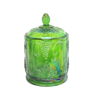 Indiana Harvest Grape Emerald Green Carnival Glass Cookie Jar With Lid For Sale