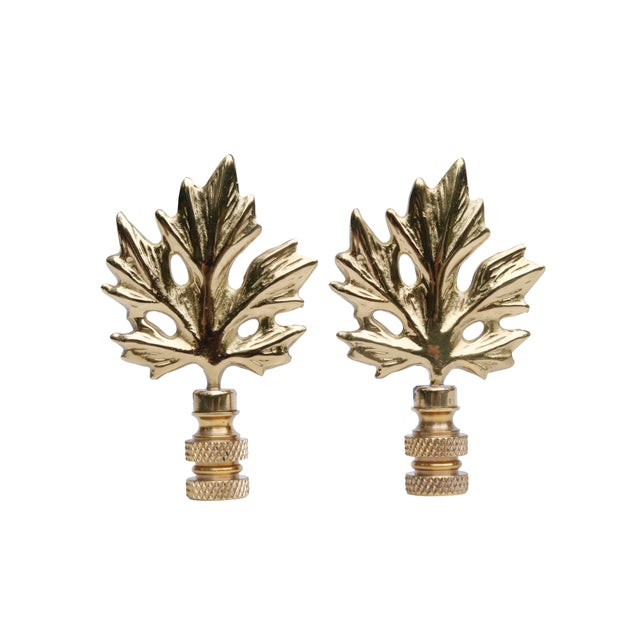Solid Brass Maple Leaf Finials A Pair Chairish