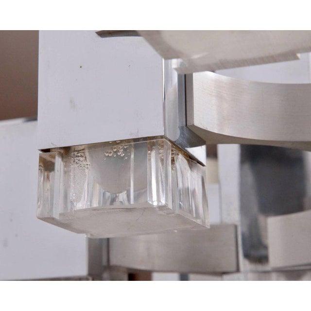 "Gaetano Sciolari Chrome ""Cubic"" Chandelier For Sale - Image 6 of 8"